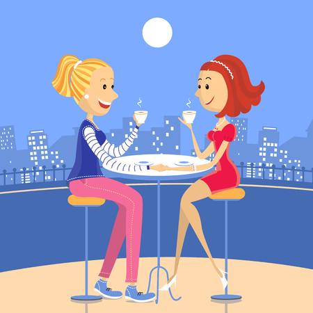 Two lesbian lovers sitting in a cafe.Vector color illustration of happy women Vector