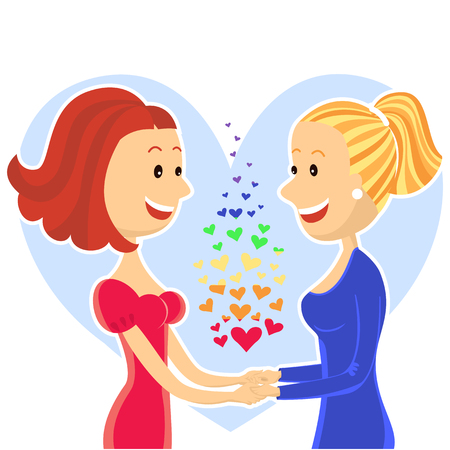 lesbian: Jeune couple de lesbiennes souriante et heureuse de deux women.Vector illustration