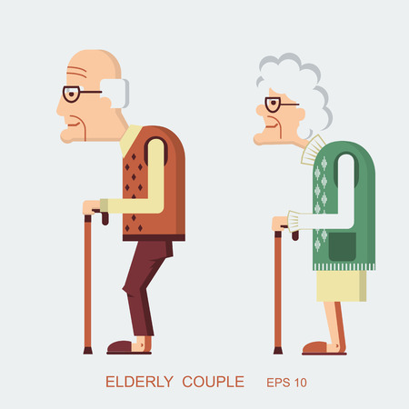 高齢者の人々。ベクトル老婦人と近代的なフラットなデザインで古い男