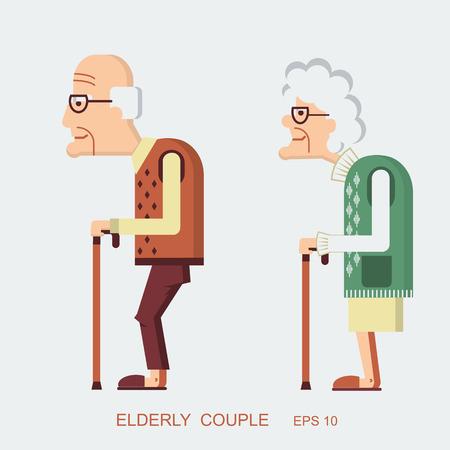 old age: Anziani people.Vector vecchia signora e vecchio in design piatto moderno Vettoriali