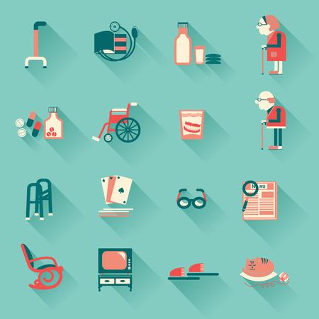 personas ancianas: Objetos especiales para pensionistas life.Vector iconos Vectores