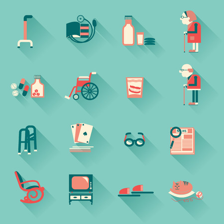 health elderly: Special objects for pensioners life.Vector icons