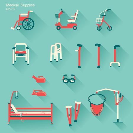 ortopedia: equipo médico del hospital para los iconos con discapacidad people.Vector planas