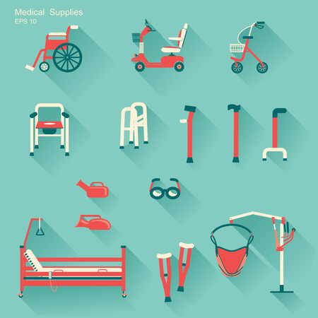 orthopedics:  medical hospital equipment for disabled people.Vector flat icons