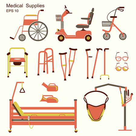 crippled:  medical hospital equipment for disabled people.Vector flat symbols isolated