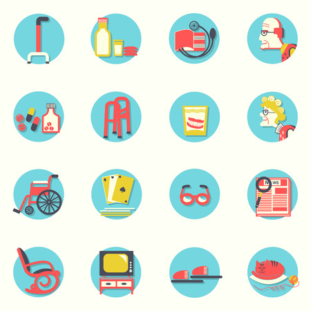 Objects for pensioners life.Vector icons Vector