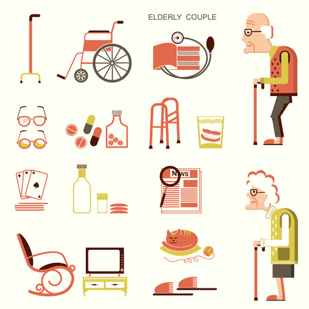 Elderly people and objects for pensioners.Vector flat design icons Иллюстрация