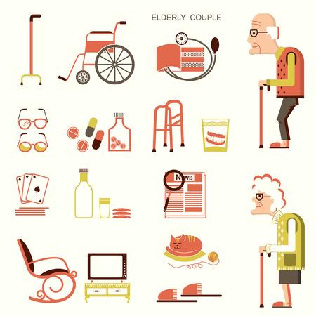 simbolo uomo donna: Le persone anziane e oggetti per pensioners.Vector icone del design piatto