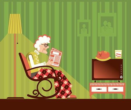 alte frau: Alte Frau sitzt im Schaukelstuhl und liest Zeitung in seinem Zimmer. Illustration