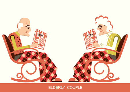 Elderly people are sitting in rocking chair and reading newspaper.