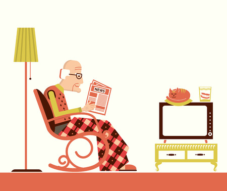 Old man sitting in rocking chair and reading newspaper in his room.