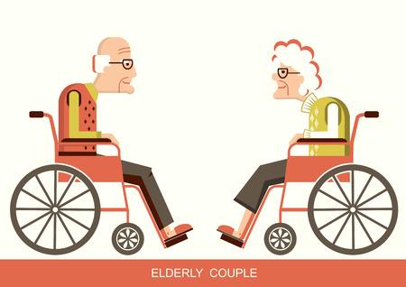 Oudere mensen in een rolstoel.