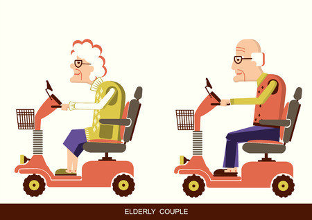 Pensioners old man and old woman drive mobility scooters. Vector