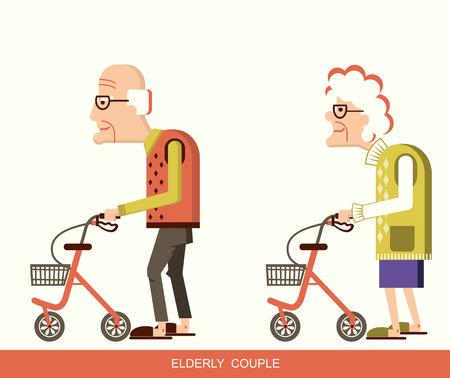 Viejo hombre lisiado y mujer mayor con los caminantes.
