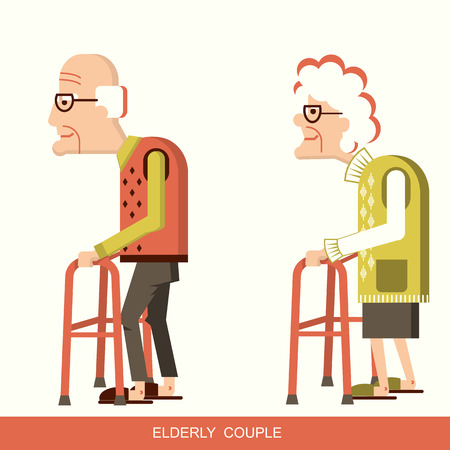 pensioners with walking sticks. Vector