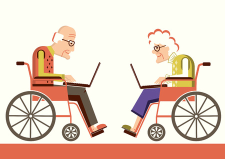 Elderly people in a wheelchairs with laptops. Vector