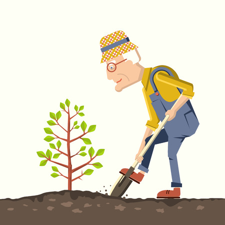 pensioner plant a tree in a garden.