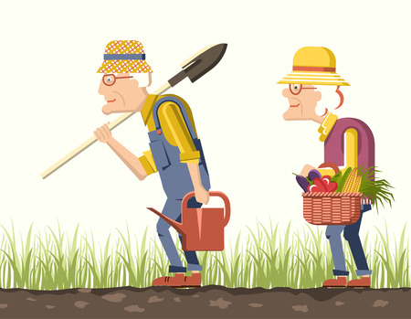 woman gardening: old man and old woman gardeners with harvest .Pensioner isolated illustration
