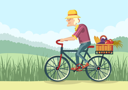 Pensioner drive by bicycle.Vector gardener old woman illustration