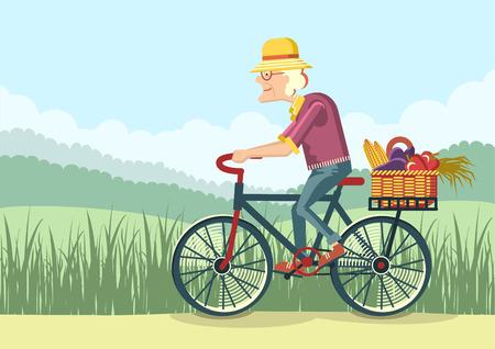 alte frau: Rentner Antrieb durch bicycle.Vector G�rtner alte Frau Illustration