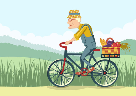 Pensioner drive by bicycle.Vector gardener old man illustration Illustration