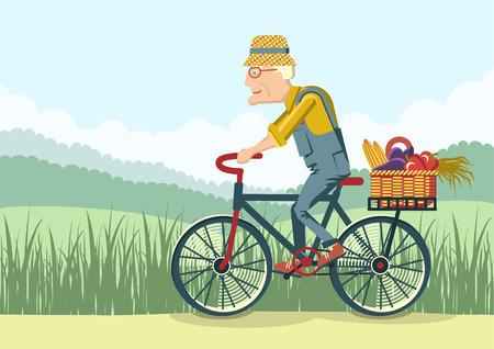 hombre viejo: Unidad Pensionado por bicycle.Vector jardinero anciano ilustraci�n