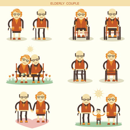 crippled: Old people life.Vector icons isolated for design Illustration