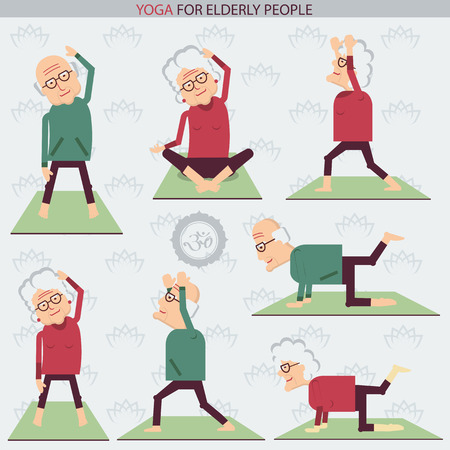 woman smiling: Old people yoga.Vector symbols of isolated illustration on white Illustration