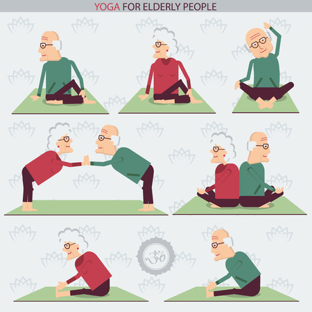 old man happy: Yoga for Old people.Vector symbols of isolated illustration on white