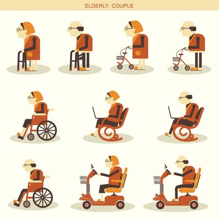 crippled: Elderly people and Medical hospital disabled equipments.Vector icons isolated for design