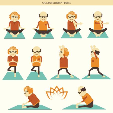 older woman smiling: Old people yoga lifestlye.Vector symbol of isolated illustration for design Illustration