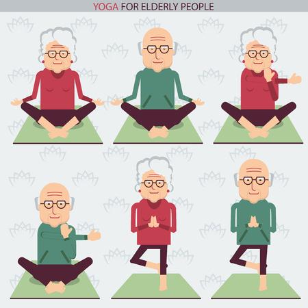 elderly people: Elderly people yoga lifestlye.Vector symbols of isolated illustration on white Illustration