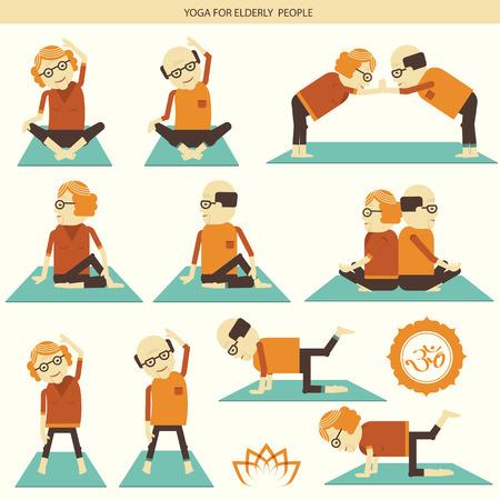 older woman smiling: Elderly people do yoga.Vector symbol of isolated illustration for design
