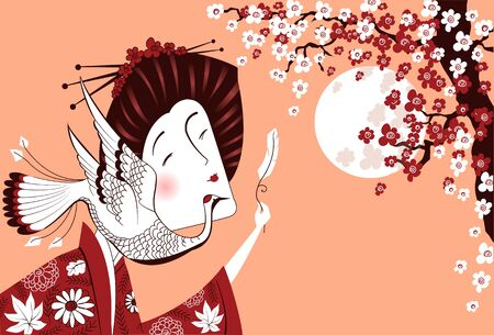 lady in red: Japanese woman in traditional clothes with bird.Vector illustration