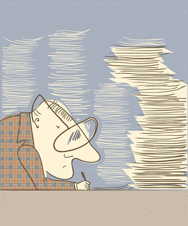 stack of papers: Man writing at table in an office work.Vector illustration