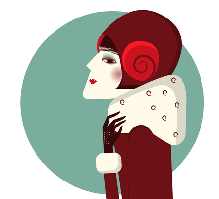 vintage fashion: Vintage woman portrait in fashion hat and winter coat.Vector color illustration