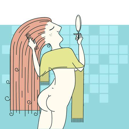 combing: Young Woman combing hair in bathroom.Vector illustration