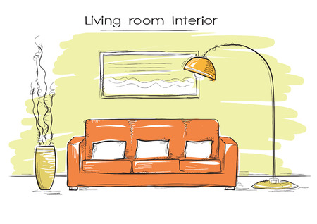 sketchy illustration: Sketchy illustration of living room color interior.hand drawing modern home