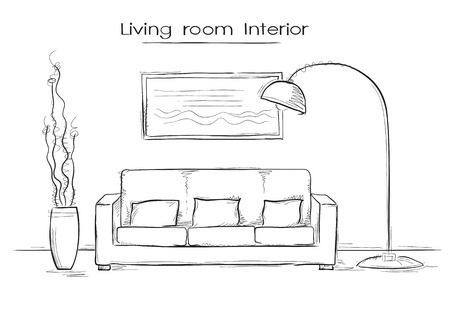 modern living room: Sketchy illustration of living room interior. hand drawing modern home
