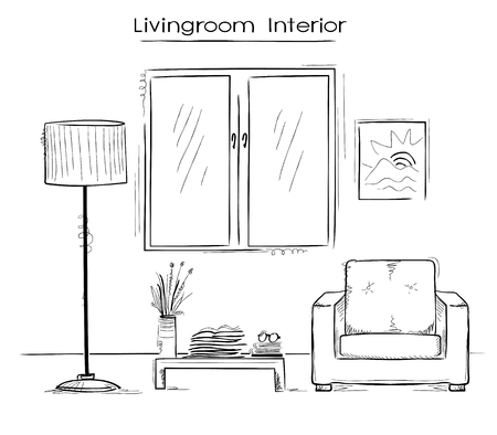 drawing room: Sketchy color illustration of bedroom interior. hand drawing modern home Illustration