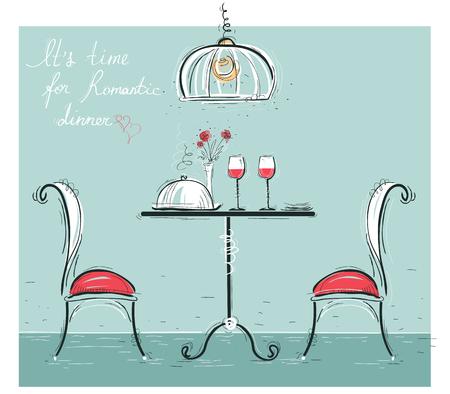 pareja comiendo: Cena romántica para dos ilustración de color lovers.Sketchy con mesa y dos sillas Vectores