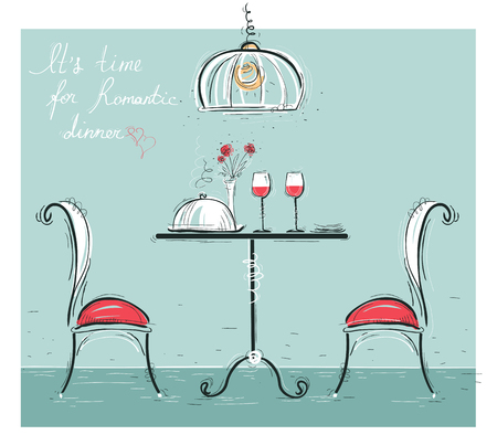 Romantic dinner for two lovers.Sketchy color illustration with table and two chairs