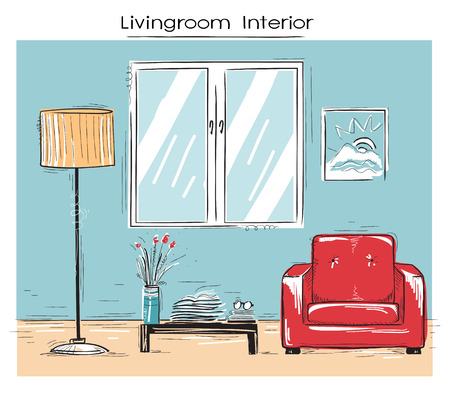 sketchy illustration: Sketchy illustration of livingroom interior with red armchair. color hand drawing image