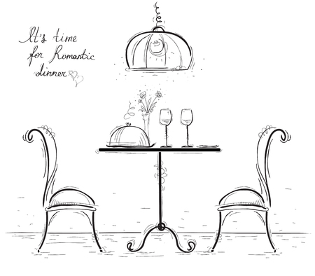 Romantic dinner for two lovers.Sketchy illustration with table and two chairs isolated on white.