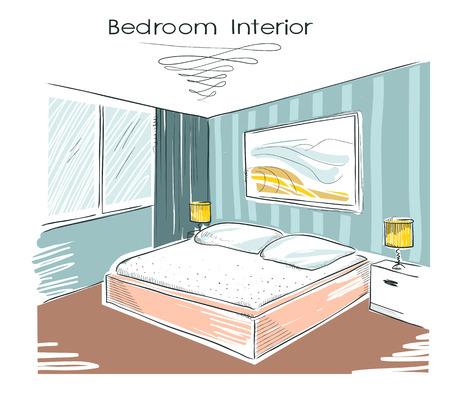 hotel rooms: Sketchy color illustration of bedroom interior. hand drawing modern home Illustration