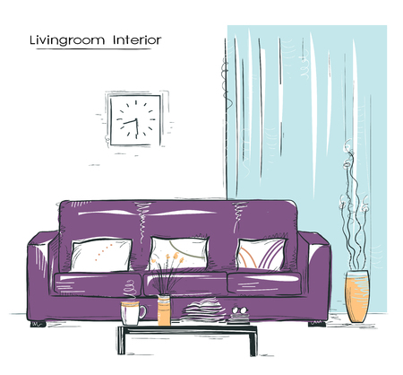 Living room interior illustration with couch.drawn sketch of illustration on white.