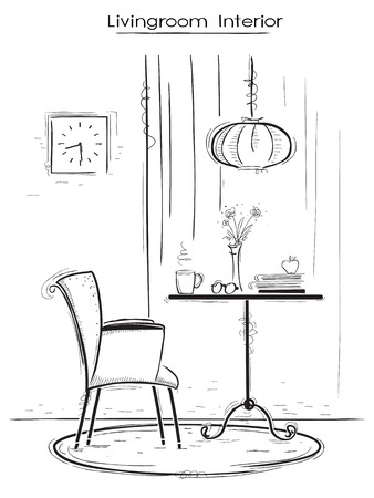 armchair: Living room interior illustration with armchair and table. hand drawn sketch of illustration.