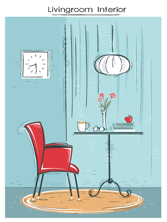 Living room interior illustration with armchair and table. hand drawn color sketch of illustration.