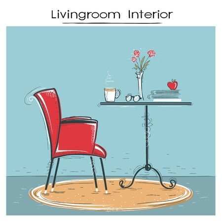 Living room interior place for reading or relax.Hand drawn color sketch of illustration.