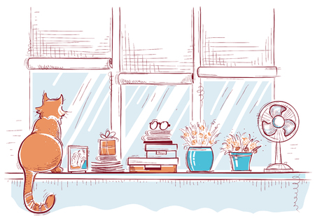 Windows ill with home love objects and cute cat.Hand drawn color sketch of illustration card Illustration